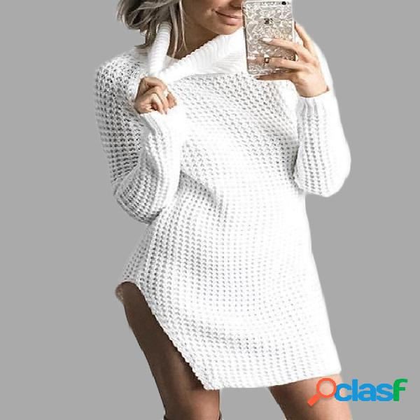 White Waffle Knit Roll Neck Side Slit Asymmetrical Sweater