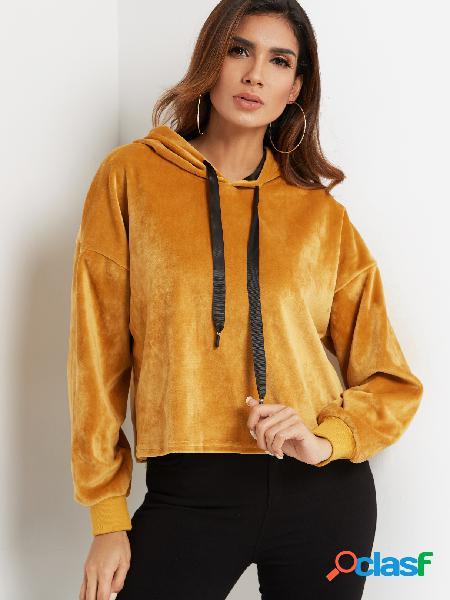 Yellow Hooded Design Plain Long Sleeves Hoodie