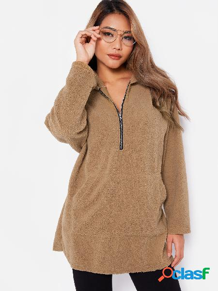 Camel Zipper Design Plain Long Sleeves Hoodie