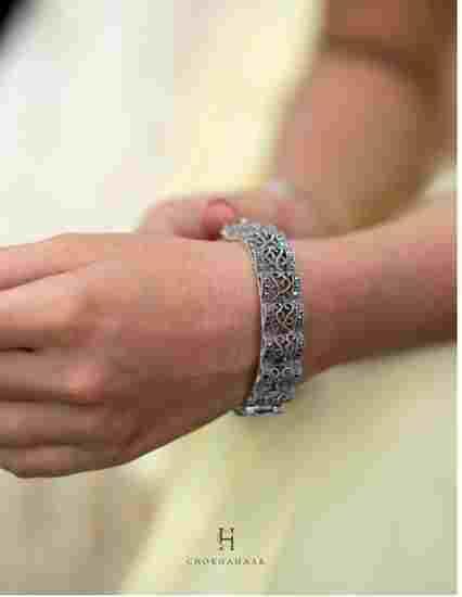 Buy designer silver Hand Kada for girls online