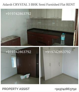 Adarsh CRYSTAL 3 BHK Semi Furnished Flat For RENT