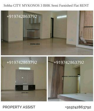 Sobha City 3 BHK Semi Furnished Brand New Flat for RENT