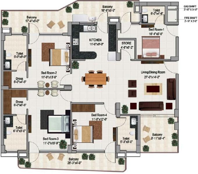 3+1BHK Residential Apartment for sale in green lotus saksham