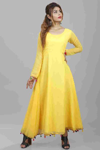 Buy Yellow Lashkara Anarkali Online at Rajkumari