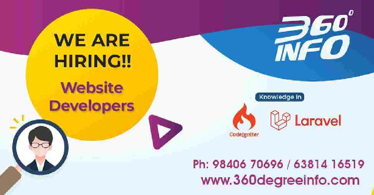 We are hiring for a Web/PHP (laravel or Codeigniter)