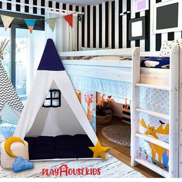 Triplet White Blue Play House Large Tent for Kids in India